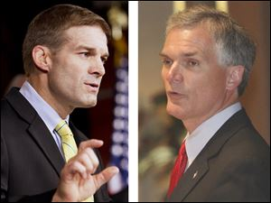 Republican representatives Jim Jordan, left, and Bob Latta stand to gain parts of Lucas County.