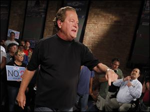 Host Ed Schultz had hoped to hold an open-air town hall at an outdoors spot in Toledo, but the show was moved inside Quimby's when the weather became uncooperative.