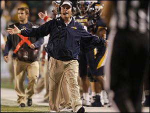 Toledo coach Tim Beckman wants a pass interference call to be called against Boise State during the second quarter.