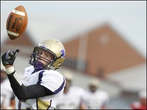 Maumee defender Dakota Windnagle breaks up a pass intended for Bowling Green's Zac Lucas.