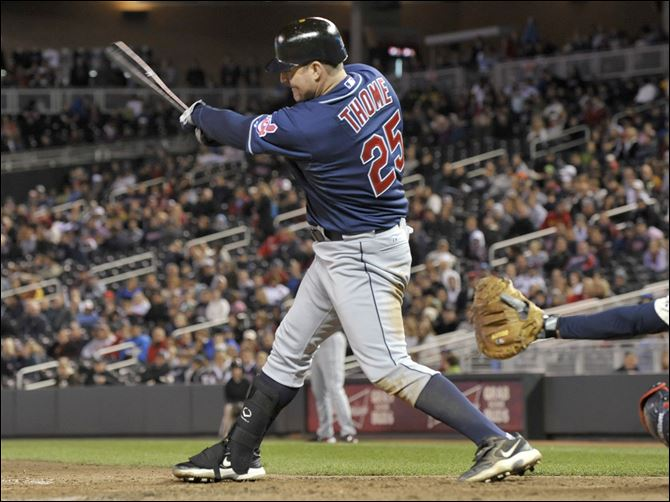 Jim Thome powers indians past Twins Cleveland Indians' Jim Thome follows through as he hits a solo home run off Minnesota Twins' Joe Nathan during the ninth inning of a baseball game on Friday, in Minneapolis. Cleveland won 7-6.