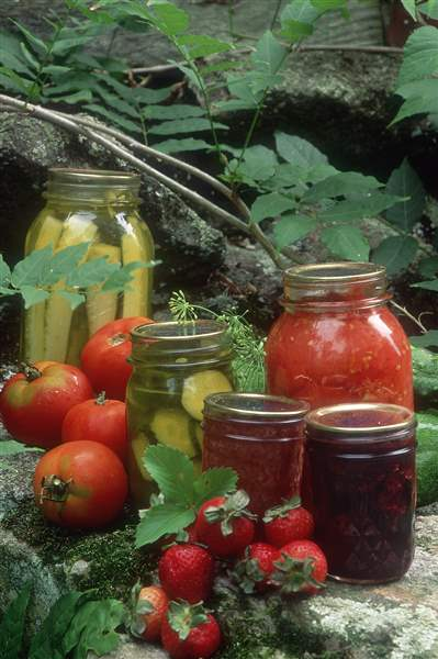 Homemade-jam-pickles-and-canned-tomatoes