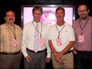 The tasting judges at Confections for the Cure are, from left, Mark Knierim, Van Andres, Rob Winkle and Bill Sattler.
