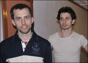 American hikers Shane Bauer, left, and Josh Fattal are shown in Tehran, Iran, in this May, 2010 photo.