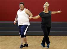 Chaz-Bono-Lacey-Schwimmer-Dancing-with-Stars-rehersal