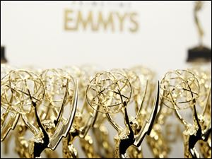 Emmy statues are seen backstage at the 63rd Primetime Emmy Awards on Sunday in Los Angeles.