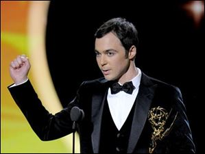Jim Parsons accepts the award for outstanding lead actor in a comedy series for
