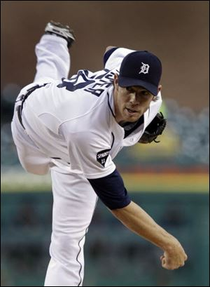 Doug Fister pitched 8 scoreless innings in Detroit's rout over the Cleveland Indians Monday night at Comerica Park in Detroit. The Tigers won 14-0 as they battle for home-field advantage in the playoffs.