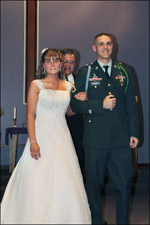 Wedding photos of  Danielle and Evan Donoho from Facebook.
