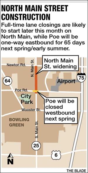 Lane closings will likely take place this month on North Main, while Poe will be one-way eastbound for 65 days next spring/early summer.