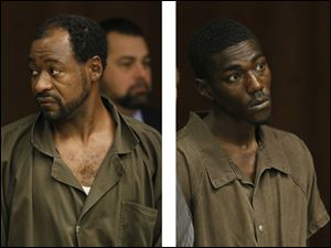 Frank Stewart, left, and Dontae Elliott, appear Thursday at their arraignments in Toledo Municipal Court.