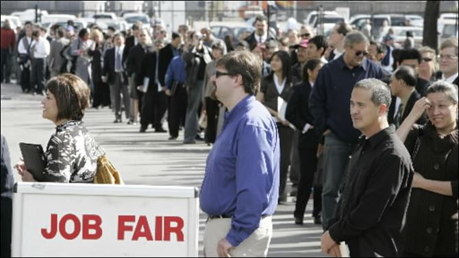 Hundreds of people wait in line to get into a job fair presented by Jobs & Careers Newspaper and Job Fairs in California. A provision in the jobs bill supported by President Obama would prohibit employers with more than 15 workers from refusing to consider -- or offer a job to -- workers who have been unemployed.