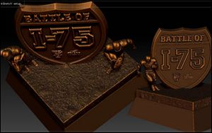The Battle of I-75 Trophy was designed by Jeff Artz, who also designed the Biletnikoff Award Trophy, which is given annually to the top collegiate wide receiver in the country.