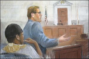 In this courtroom drawing, Umar Farouk Abdulmutallab, left, listens Tuesdayas Assistant U.S. Attorney Jonathan Tukel presents opening arguments in U.S. District Judge Nancy Edmunds' courtroom in Detroit.