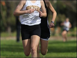 Sylvania Northview's Alison Work leads Perrysburg's Taylor Monheim at the Northern Lakes League cross country championship meet at Pearson Metropark in Oregon, Saturday, October 15, 2011. Work won the meet and Monheim was second. The Blade/Andy Morrison