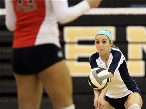 Notre Dame's Payton Bowyer (1) hits the ball against Central Catholic Tuesday.