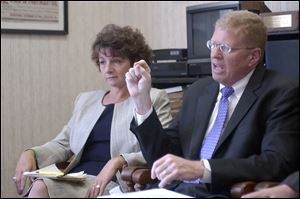 Tina Kielmeyer, interim director of the Ohio Bureau of Worker's Compensation, left, and Tom Hayes, director of the Ohio Lottery Commission.