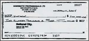 Attorney General Jim Petro alleges the last theft by Tom Noe from the rare-coin fund was for $400,000 on May 17 in the form of two checks for $200,000 each. State record show one of the checks, above, from a subsidiary of the coin fund, Numismatic Professionals LTD., was made out to 'Vintage,' which refers to Vintage Coins & Collectibles. That was Mr. Noe's former coin business in Monclova Township. The check was not signed, but it was deposited into a Vintage account, records show.