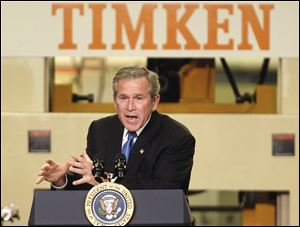 President Bush announces his economic agenda at the Timken Co. in Canton, Ohio, during his re-election campaign.