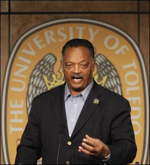 "Rev. Jesse Jackson speaks to the crowd in the Ingman Room at the University of Toledo to urge Ohioans to vote ""No"" on Issue 2."
