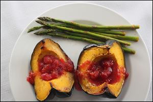 Baked Acorn Squash with Cranbery Compote and Citrus Glazed Asparagus,