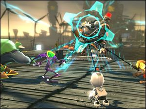 "A scene is shown from ""Ratchet & Clank: All 4 One."""