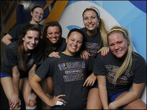 St. Ursula seniors, from left, Emma Romstadt, Cassidy Croci, Katie Felix, Erin Williams, Madison Strall and Madison Haupricht hope to lead the Arrows to a second straight Division I state volleyball championship. The Arrows (27-0) play Cuyahoga Falls Walsh Jesuit at 2 p.m Friday in the state semifinals.