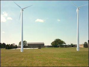 Two 100-killowat turbines at Eisenhower Middle School, as seen in this conceptual drawing, could be completed by the end of this year. The 190-feet tall turbines are expected to generate about 68 percent of the middle school's electrical needs, according to Superintendent Mike Zalar.