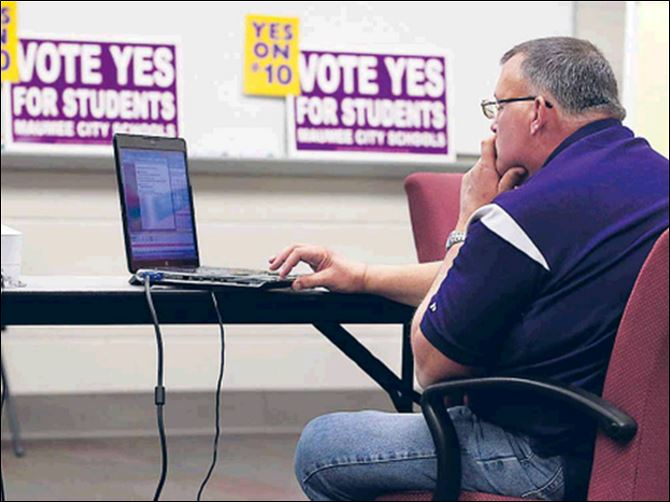 Area voters divided on levies Paul Brotzki, treasurer of Maumee City Schools, monitors voting results.