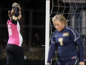 Archbold goalie Nichole Wood (16) reacts to giving up a goal to Shaker Heights Laurel, which would be the only score in the game.