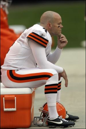 Cleveland Browns kicker Phil Dawson sits on a cooler after missing a fourth-quarter field goalagainst the St. Louis Rams, Sunday, Nov. 13, 2011, in Cleveland. The Browns lost 13-12.