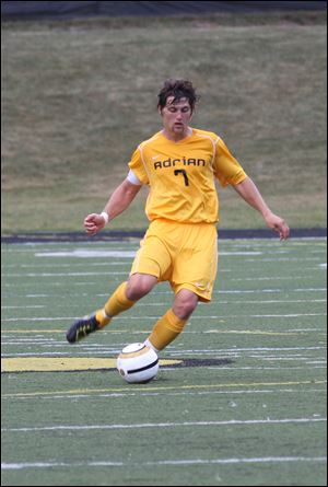 Jamie Brower, a junior at Adrian College, says he's not looking for goals but is 'trying to set up other people for goals.' His play this past season earned him a spot on the All-Michigan Intercollegiate Athletic Association second team for the second straight season.