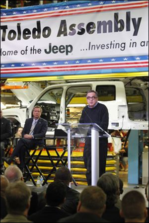 Chrysler CEO Sergio Marchionne announces investment plans for the Toledo North plant at the Toledo Assembly complex, during an event at the Chrysler plant in Toledo.