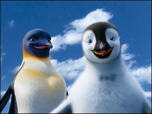 "Gloria, voiced by Alecia ""P!nk"" Moore, left, and Mumble, voiced by Elijah Wood, are shown in a scene from the animated feature ""Happy Feet Two."""