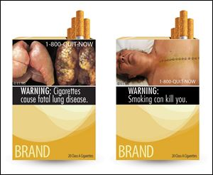 Two of nine new warning labels cigarette makers would have had to use by the fall of 2012.