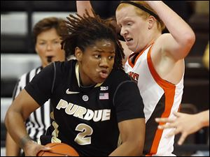 Bowling Green's Havel (42) defends against  Purdue forward Antionette Howard (2).