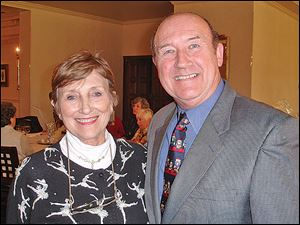 Event chairman Dee Dillon, left, and Nigel Burgoine, artistic director of the Ballet Theater Company of Toledo.