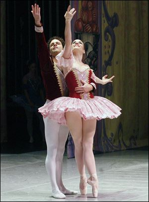 "Zack Grubbs and Sarah Hairston dance with The Ballet Theater of Toledo in a 2010 performance of ""The Nutcracker"" at the Valentine Theatre."
