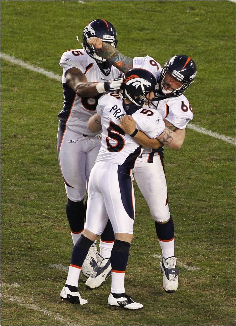 Broncos kicker matt prater 5 celebrates his game winning field goal