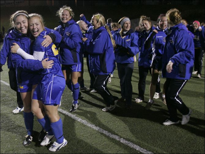 Arrows fall in state soccer final St. Ursula celebrates a victory over Cuyahoga Falls Walsh Jesuit in a Division II state semifinal in Tiffin. The Arrows finished with a 15-7-1 record.
