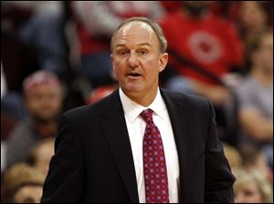 Ohio State coach Thad Matta watches from the bench during the second half of an NCAA college basketball game against Texas-Pan American Saturday.