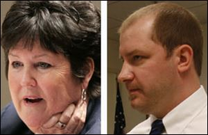 Democrat Tina Skeldon Wozniak, left, faces Republican Jonathan Anderson for county commissioner.