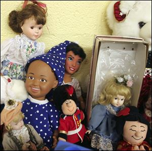A variety of dolls available at the Givng Store. Members of Glenwood Lutheran Church have started a free store called the Giving Store, collecting clothes and household items that they give away once a month to anyone who comes to the church and asks -- there is no criterion of need or residence