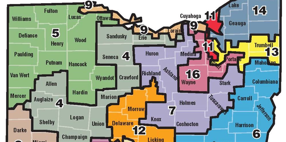 Redrawn Map Puts Toledo In Districts Instead Of The Blade - Us congressional districts ohio map
