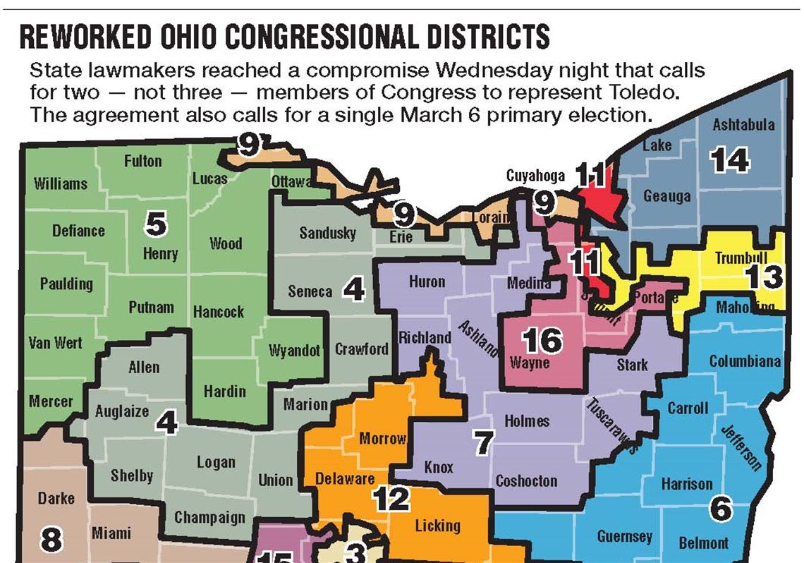 Redrawn map puts Toledo in 2 districts instead of 3 | Toledo Blade