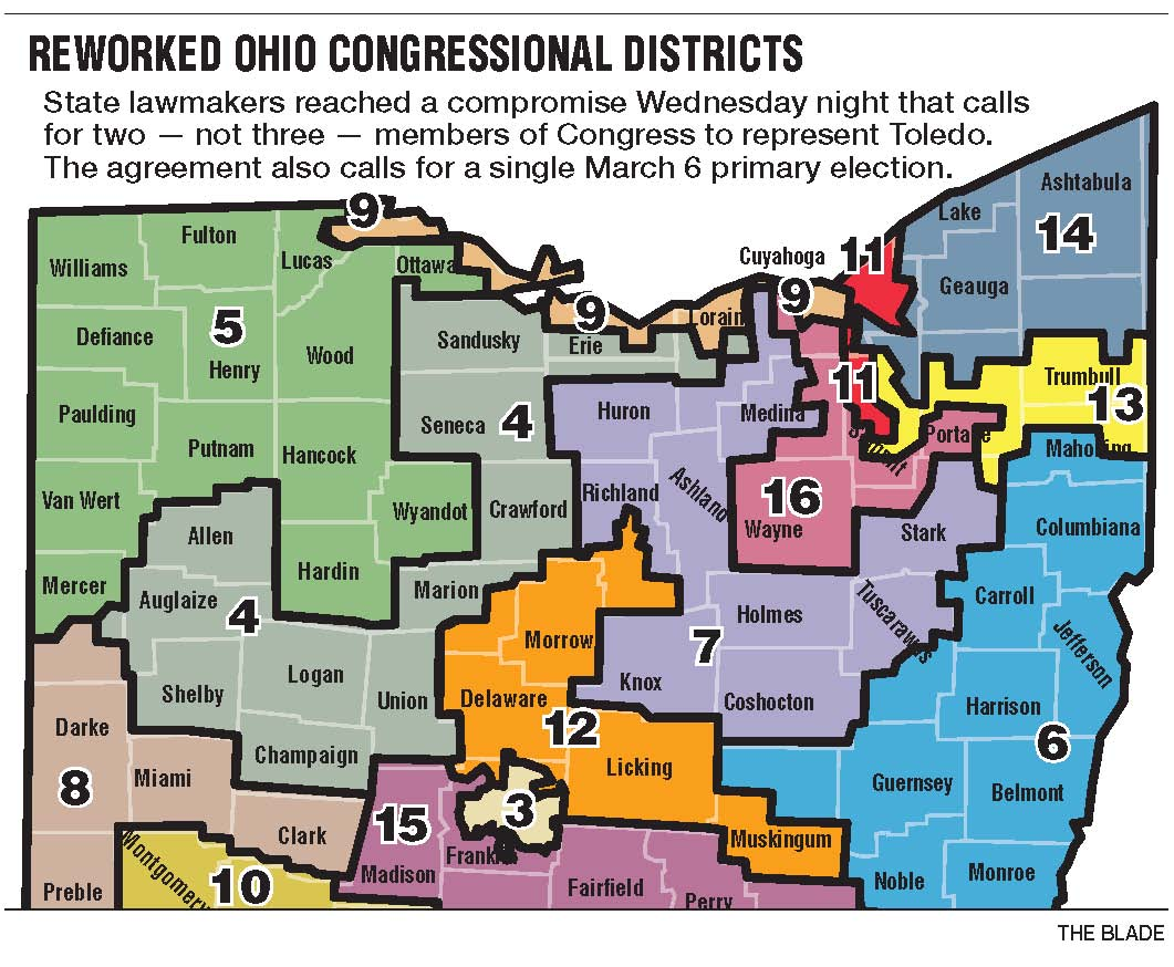 Redrawn Map Puts Toledo In Districts Instead Of The Blade - Us congressional districts map ohio