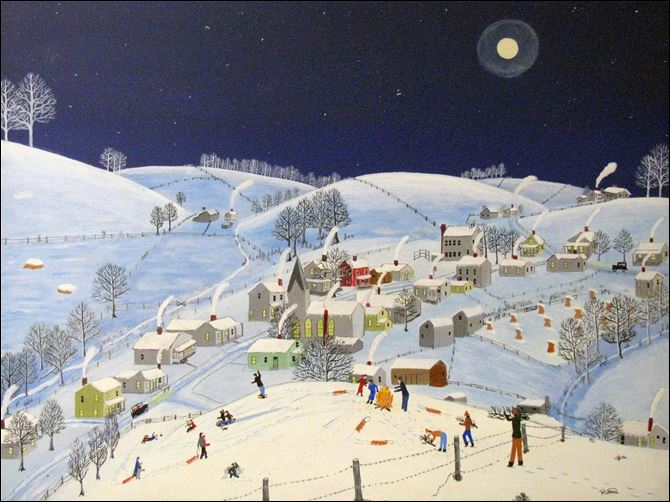 Bucolic Ohio village lives on in art Under a haloed moon and a sky washing from dusky to midnight blue, the young'uns of Rix Mills in southeastern Ohio make merry in Winter Party by Paul Patton (1921-1999).