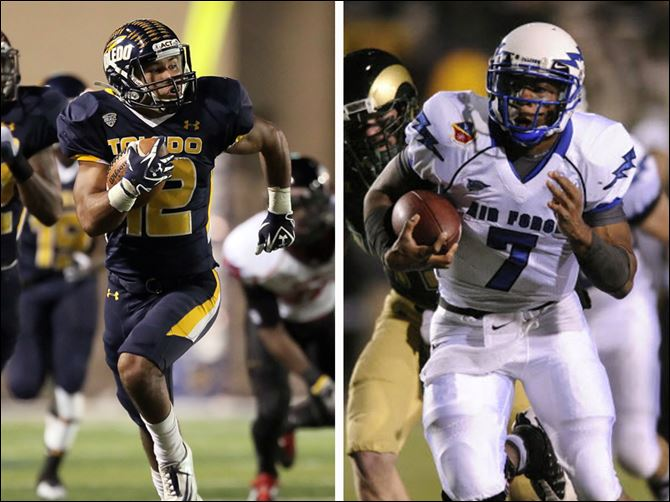 Page vs Jefferson Military Bowl UT's Eric Page, left, 2011 statistics: RECEIVING: 112 receptions; 1,123 yards, 10 TDs; RETURNS: 30 kickoffs for 703 yards; 18 punts for 196 yards, 1 TD. USAFA's Tim Jefferson, right, 2011 statistics: PASSING: 98 of 161 for 1,478 yards, 12 TDs; RUSHING: 139 attempts for 492 yards, 10 TD s