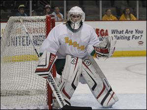 Clay goalie Alyssa Batch guards the net during the game against Perrysburg at the Huntington Center.