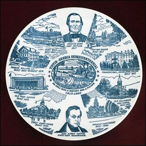 The Seneca County Courthouse is depicted in the lower right-hand corner of the Tiffin-Seneca Sesquicentennial plate, issued in 1967. The county courthouse built in 1836 is depicted at the lower left.